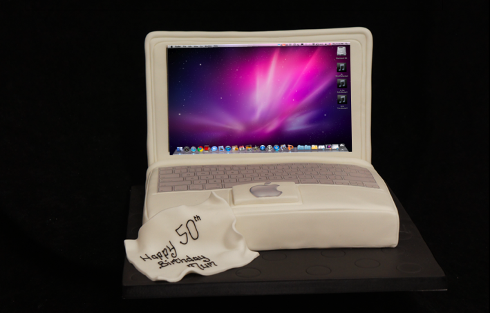 lap top birthday cake by sugarbliss cake company